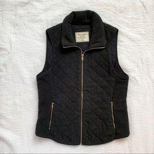 Abercrombie Black Quilted Fleece Zip Vest Sz Med